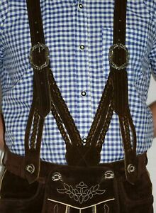 Brown Leather SUSPENDERS German Lederhosen Shorts Pants Oktoberfest ~ BRAIDED