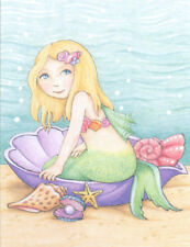 Little Mermaid Seashell-Handcrafted Pearl Fridge Magnet-w/Mary Engelbreit art
