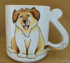 """Vintage Happy Puppy Dog Mug """"Be Happy"""" Tail Makes the Handle 3.5"""" Japan"""