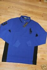 Ralph Lauren Polo Men Big Pony Blue Shirt Small S Custom Fit Leather Patch