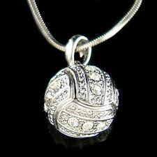 w Swarovski Crystal ~3D Volleyball Charm Necklace Unisex Olympics Sports Jewelry