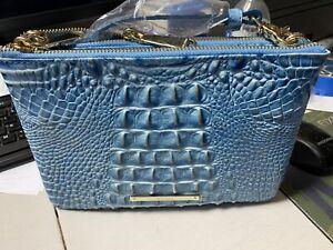 Brahmin Perri Double Zip Crossbody Shoulder Bag & Clutch Cerulean Blue Melbourne