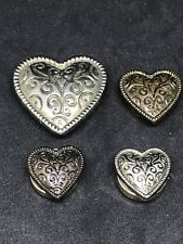4 Brass tone Western Style Button Covers Retro Valentines Hearts Adorable Sweet