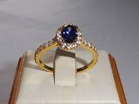 Damen 925 Sterling Silber und 18 Karat Gelbgold Tansanit weißen Saphir-Ring