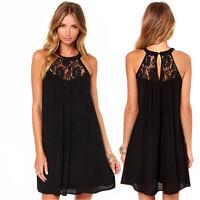 Fashion Women Dress Sexy Lace Stitched Sleeveless A Line Short Dress Black M-2XL