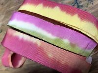 """Vintage 1940's Cotton Rayon 7/8"""" Grosgrain hand dyed Ribbon 1yd Made in France"""