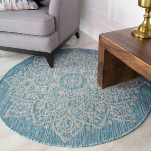Round Circle Table Mat Rug Blue Teal Aqua Oriental Washable Outdoor Durable