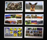 6 x Australian Postcards, Kangaroo, Koala, Sydney, Uluru, Street Signs