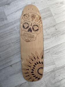 Oldskool Skateboard With Pyrography Skull Design