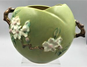 "LARGE ROSEVILLE APPLE BLOSSOM GREEN ROSE BOWL 342-6"" - CA:1949"