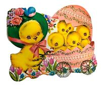 Vintage Easter Decoration Diecut Cardboard Easter Egg Chicks Bluebird Buggy