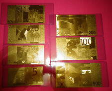 A LOT OF 7, 24 KARAT GOLD EURO 2002€ -European Union notes -IN PVC RIGID HOLDER