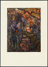 Color Woodcut Bookplate by JOSEF VACHAL 1947 | Exlibris