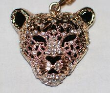 "Vintage Leopard Head Necklace Black Gold Tone Metal Rhinestones Chain 17"" 2 Pc"