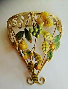Wrought Iron Lattice Fruit Bearing Shelf handmade hand-painted Toleware Decoline