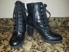 Women's G by Guess Black High Heel Combat Boots Size 10M
