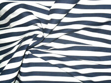 Navy Blue & White Striped Fabric Material POLY COTTON Crafts Quilting Sewing 1M