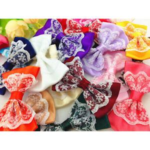 5-40Pcs Large Satin Ribbon Flowers Bows w/pearl Wedding Decoration Lots