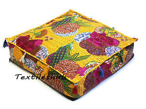 """20"""" Indian Yellow Square Pet Bed Floral Home Décor Kantha Floor Cushion Cover US"""