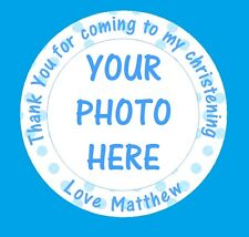 48 x Personalised Christening Birthday Party Bag Picture Photo Stickers Labels