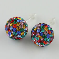Sparkle Czech Crystal Round Disco Ball Silver Stud Earrings 6mm 8mm 10mm 12mm
