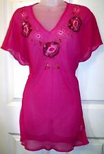 BARGAIN NEW GORGEOUS PINK SEMI SHEER SEQUINED TOP SIZE 12  # 477