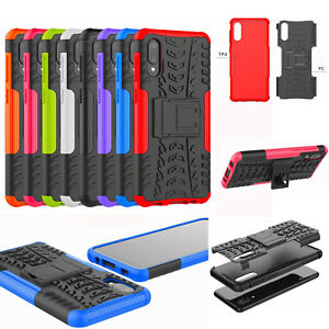 For Samsung Galaxy A02, 2in1 2-Layer Shockproof Rugged Hybrid Armor Case + glass