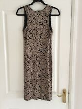 Stunning Ladies Black and Beige Patterned Sleeveless Dress Size 12