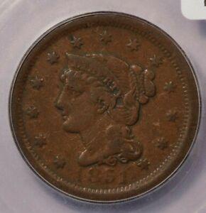 1851-P 1851 Braided Hair Cent ICG F12 Details Damaged