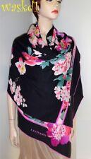 """LEONARD Paris black FLOWERS Cashmere 26x69"""" scarf SHAWL wrap NEW IN BOX Authentc"""