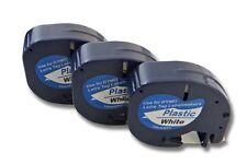 3x Cassette de cinta (12mm x 4m) N/B plastico para Dymo LetraTag, S0721610,91201