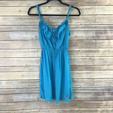 Hollister Juniors Dress Fit and Flare Sundress Ruffle Neck Blue Size Medium B39
