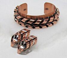 """Vintage 1950s RENOIR """"FLAME"""" Copper Cuff Bracelet & Ear Clips Set Mid Century"""