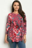 Womens Plus Size Burgundy Floral Tunic Top 2XL Round Neck Long Sleeve