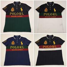 Men Polo Ralph Lauren Mesh Polo Shirt Gold POLO RL Big Pony - CUSTOM SLIM FIT