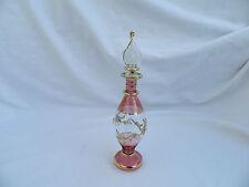 """1 Egyptian Glass Perfume Bottle Handmade Gold Flower Accent Fancy 6.5"""" # 13"""