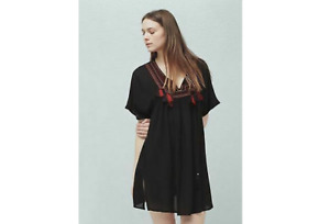 NWT MNG Mango embroidered 'pompin' dress women's size Small tassel detail boho