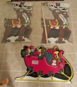 """1997 True to Nature Add The Lights21"""" X 36"""" Wooden Christmas 2 Reindeer 1 Sleigh"""