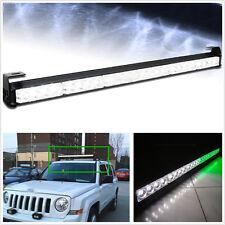 24LED 12V Green-White Car SUV Bumper/Roof Emergency Strobe Light 7 Flashing Mode
