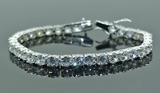 925 Solid Sterling Silver Simulated Brilliant Round Diamond Tennis Bracelet 5mm