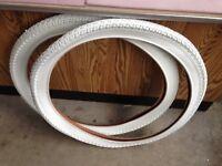 White bicycle balloon tires 26 x 2.125 Schwinn Columbia all white bike tires