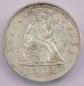 1858-P 1858 Seated Liberty Quarter ICG AU58 Details
