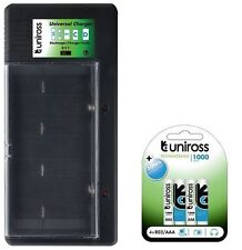 UNiROSS UNIVERSAL AA/AAA/C/D/PP3 BATTERY CHARGER+ 4 x AAA  1000 mAh BATTERIES