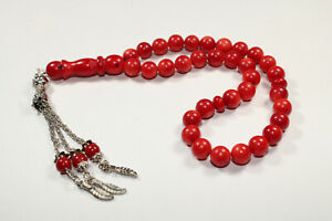 Vintage Natural Mediterranean Red Coral Round 33 Prayer Beads Islamic Rosary 8M
