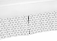 Grey Geometric Baby Crib Skirt Dust Ruffle For Sweet Jojo Aztec Feather Bedding