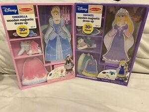 Melissa & Doug Disney Cinderella & Rapunzel Wooden Magnetic Dress Up Lot of 2
