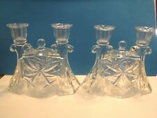 PAIR OF TAPER GLASS DOUBLE CANDLE HOLDERS  - VINTAGE - EXCELLENT CONDITION