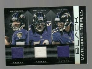 Joe Flacco/Ray Lewis/Ray Rice 2012 Black Materials Triples Game Jersey #09/50