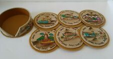 Set of 6 Drink Coasters & Holder Leather Ecuador Collectible Dining Barware
