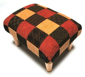 Biagi Upholstery & Design Square Patterned Chenille Footstool on Solid Wood Legs